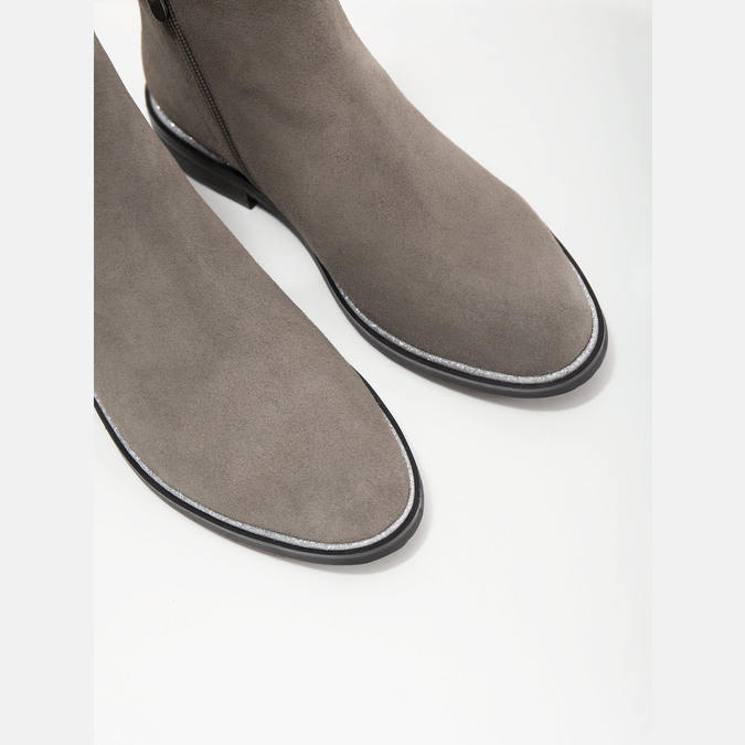 Brushed leather ankle boots bata, gray , 593-2603 - 14