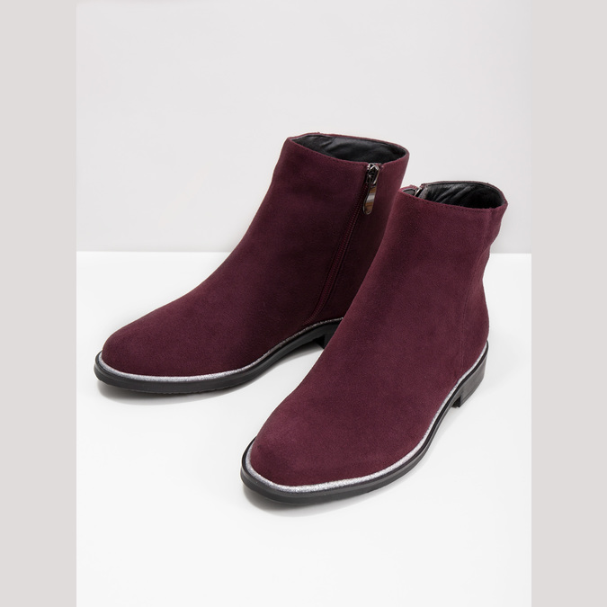 Brushed leather ankle boots bata, red , 593-5603 - 18