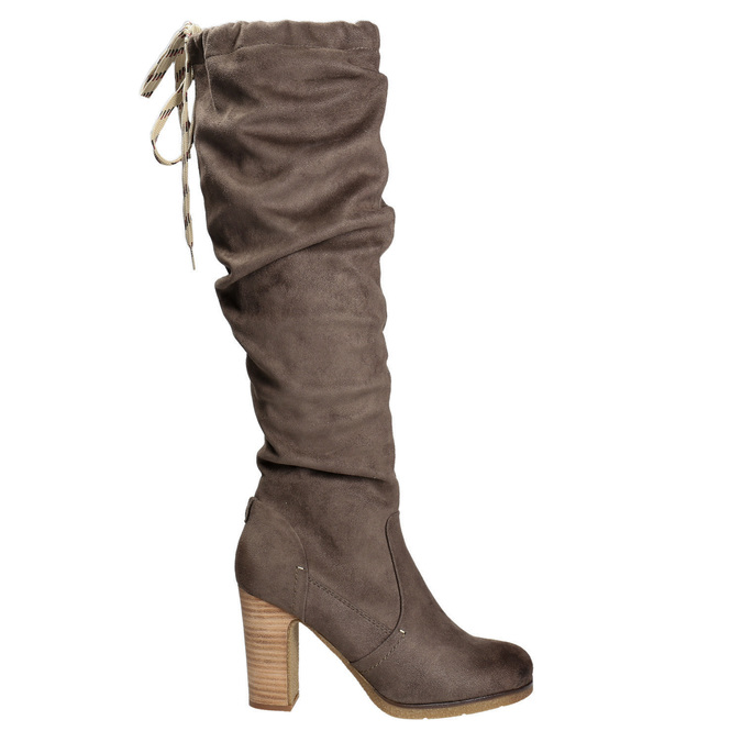 Ladies' wrinkled high boots bata, brown , 799-4614 - 15