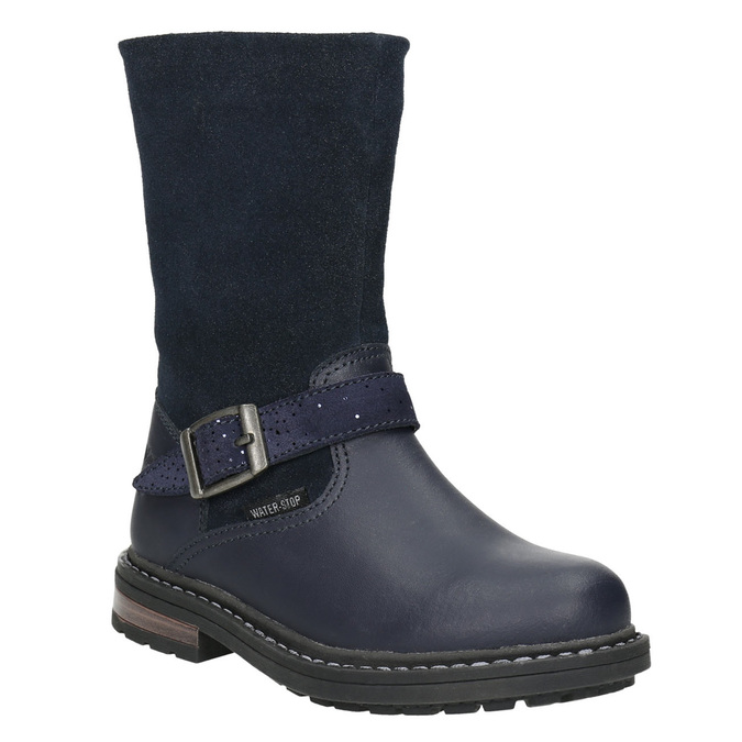 Girls' Leather High Boots mini-b, blue , 394-9194 - 13