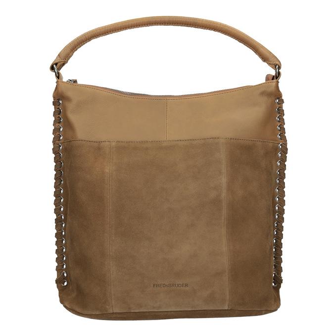Leather Handbag with Weaving fredsbruder, brown , 963-3005 - 26