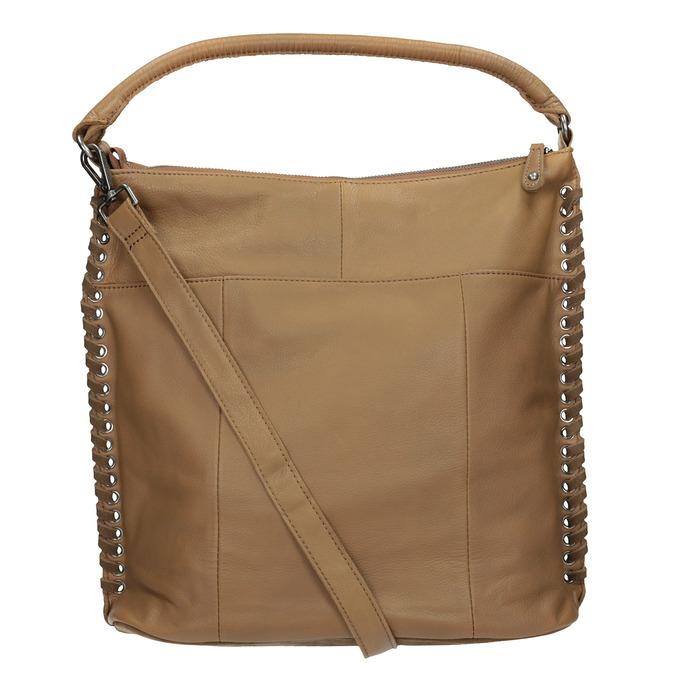Leather Handbag with Weaving fredsbruder, brown , 963-3005 - 16