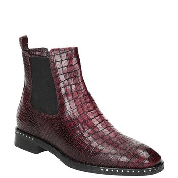 Ladies' Leather Chelsea Boots bata, red , 596-5678 - 13