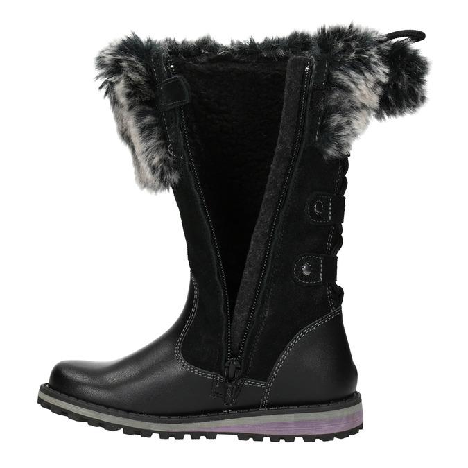 Girls' Leather High Boots with Fleece mini-b, black , 394-6193 - 15