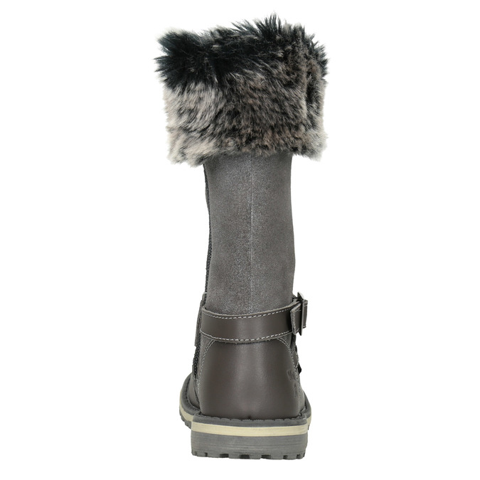 Girls' Leather High Boots with Fleece mini-b, gray , 396-2191 - 16