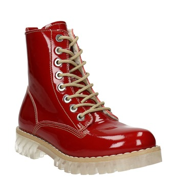 Ladies' patent leather boots with massive sole weinbrenner, red , 598-5604 - 13
