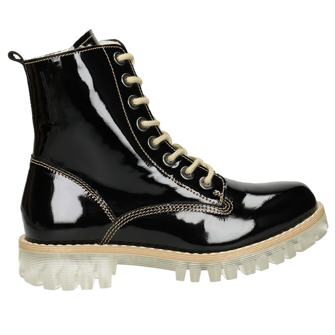 Patent leather ankle boots with massive sole weinbrenner, black , 598-6604 - 26