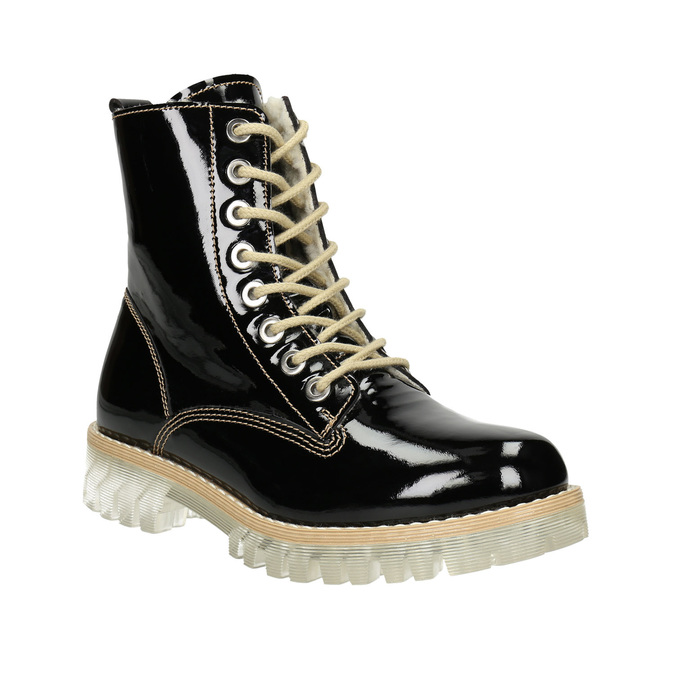 Patent leather ankle boots with massive sole weinbrenner, black , 598-6604 - 13
