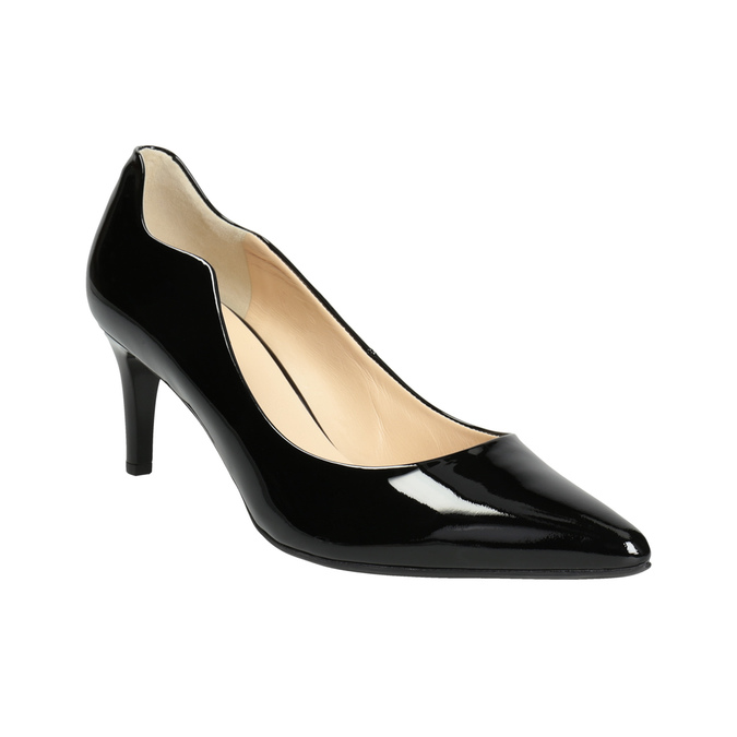 Ladies' Leather Pumps with Cutouts hogl, black , 728-6054 - 13
