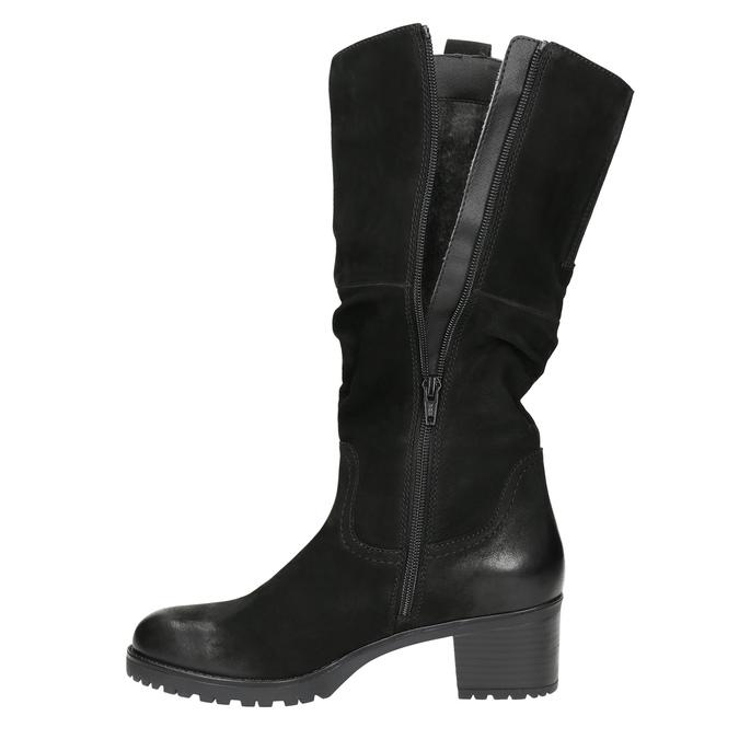 Ladies' Leather High Boots bata, black , 696-6649 - 26