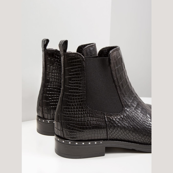 Ladies' textured  leather Chelsea boots bata, black , 596-6678 - 14