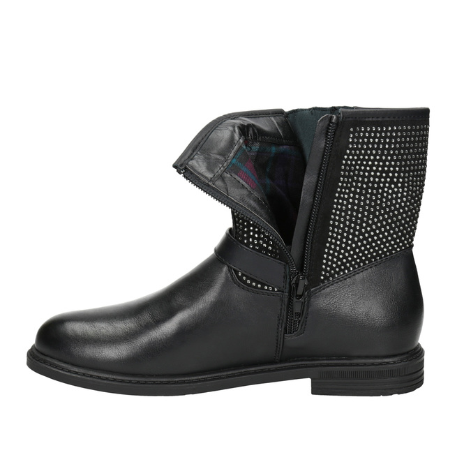 Girls' high boots with rhinestones mini-b, black , 391-6396 - 15