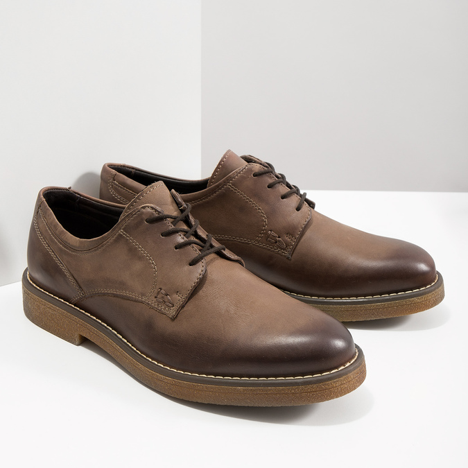 Brown Leather Shoes bata, brown , 826-4620 - 18