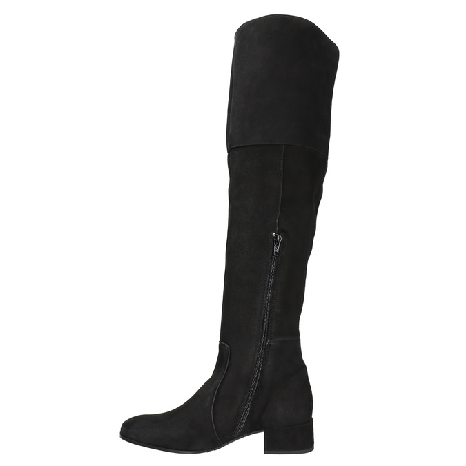 Ladies' leather high boots bata, black , 693-6604 - 15