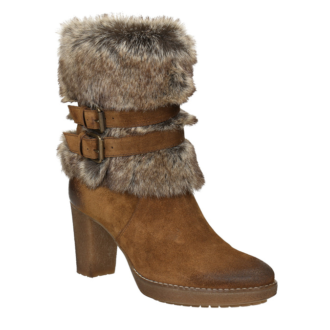 High-Heeled High Boots with Fleece manas, brown , 793-3609 - 13