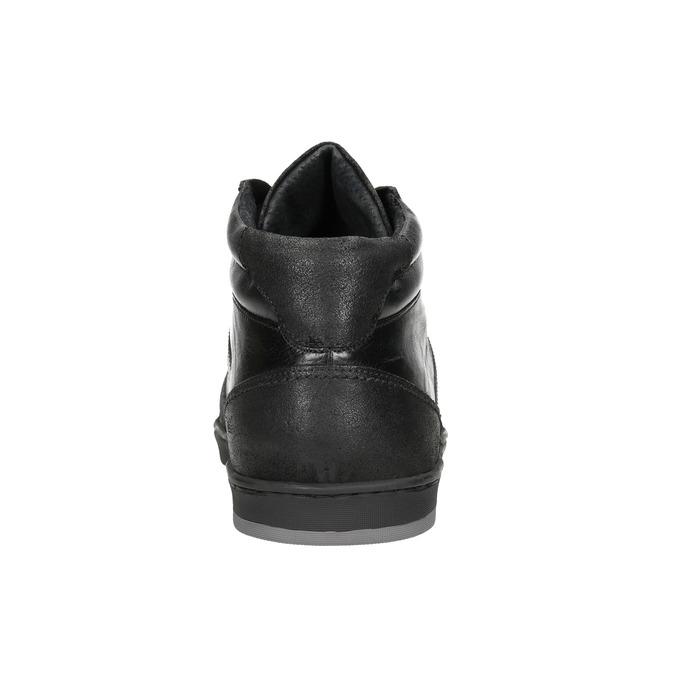 Men's Leather High Top Sneakers bata, black , 844-6644 - 16
