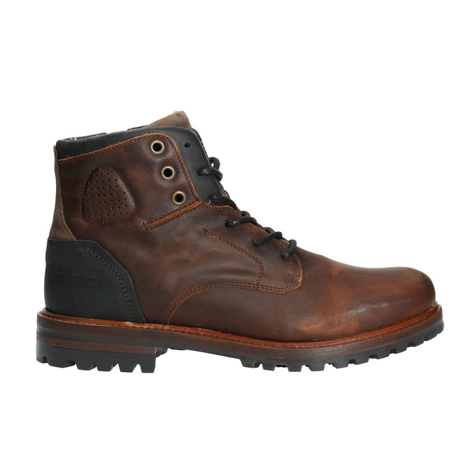 Leather Men's Boots with a Sturdy Sole bata, brown , 896-4665 - 15