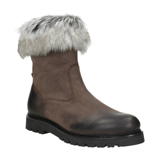 Leather ladies' boots with fur bata, brown , 594-4657 - 13