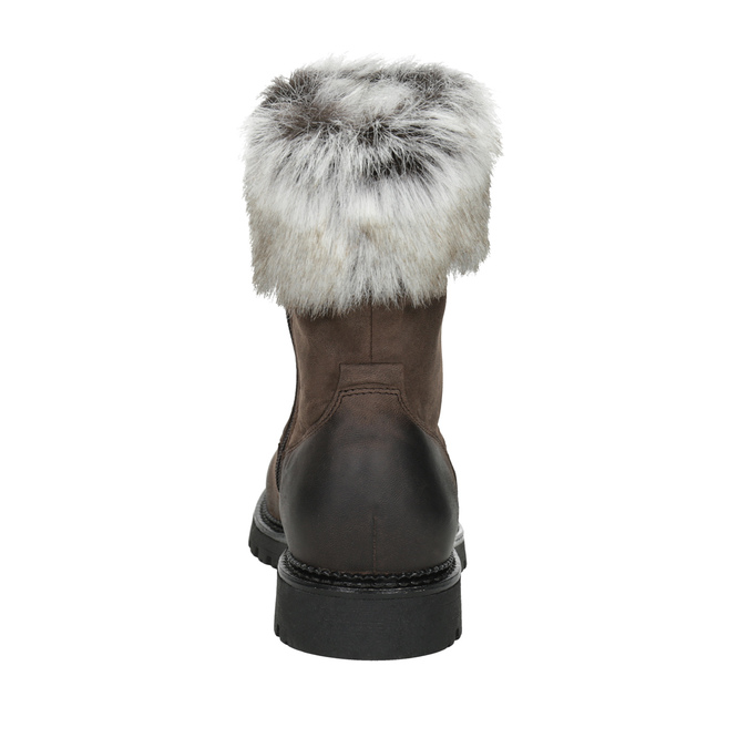 Leather ladies' boots with fur bata, brown , 594-4657 - 16
