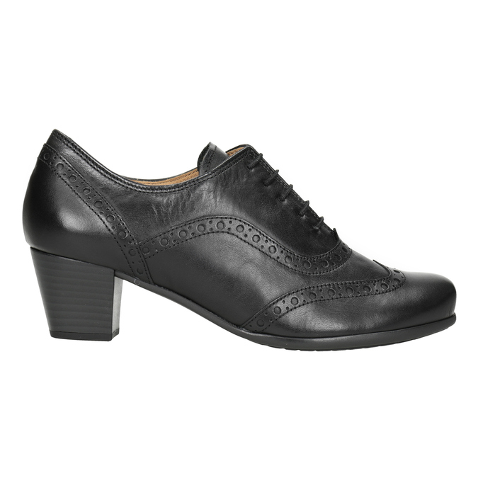 Leather heeled shoes gabor, black , 624-6016 - 26