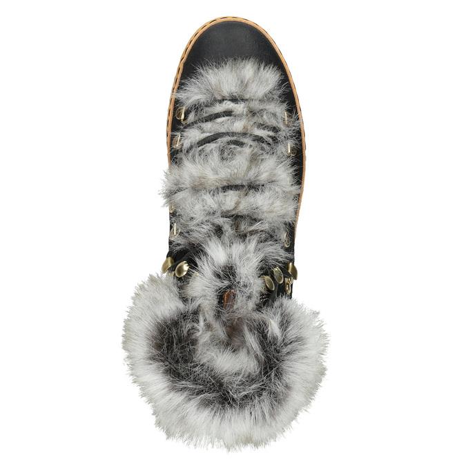 Ladies' Winter Boots with Fur bata, black , 596-6675 - 15