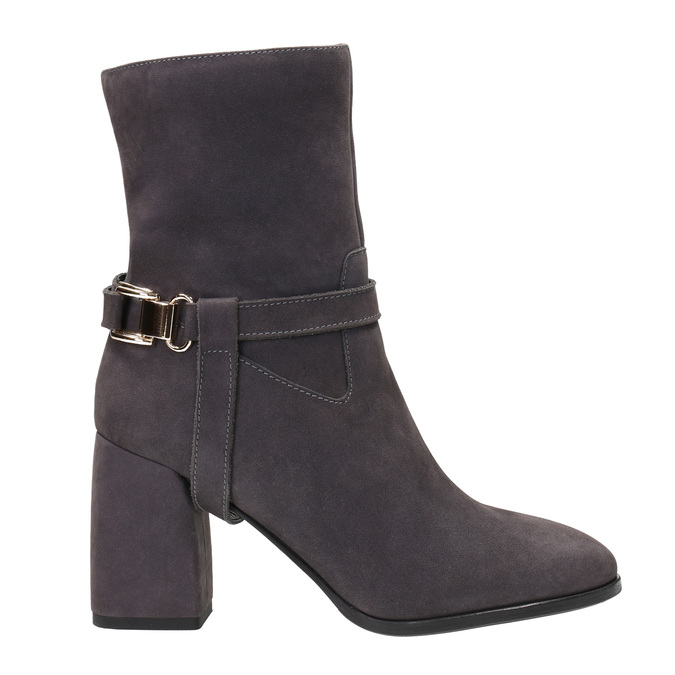 Leather Ankle Boots, gray , 793-2032 - 26