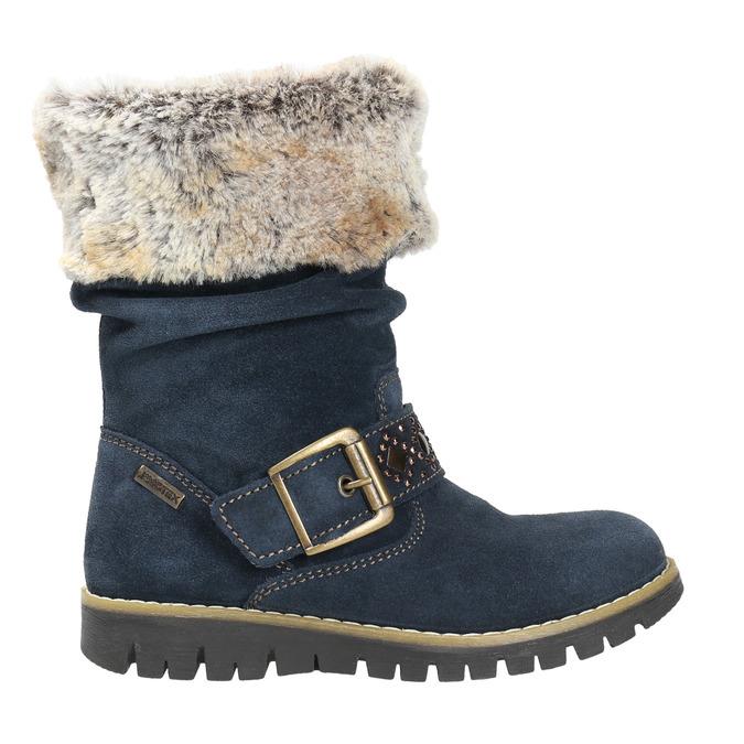 Girls' High Boots with Fur mini-b, blue , 393-9605 - 15