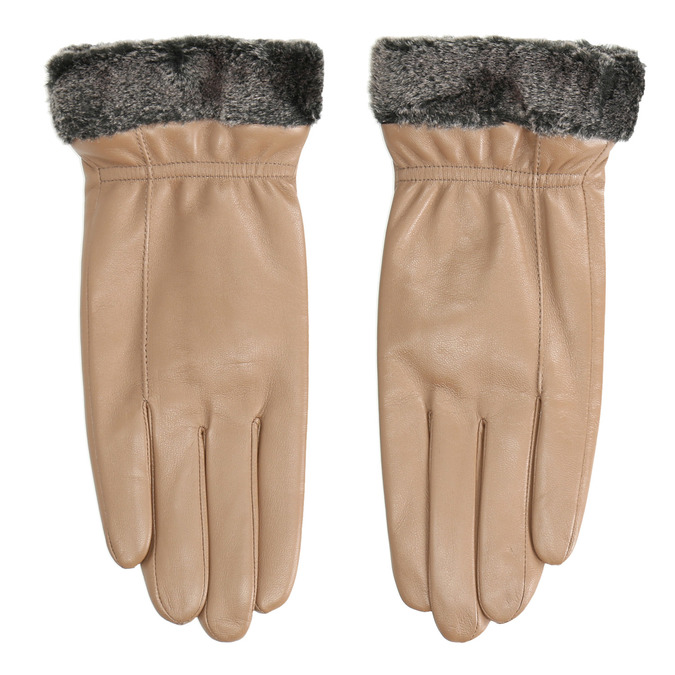 Ladies' beige leather gloves bata, beige , 904-4112 - 26