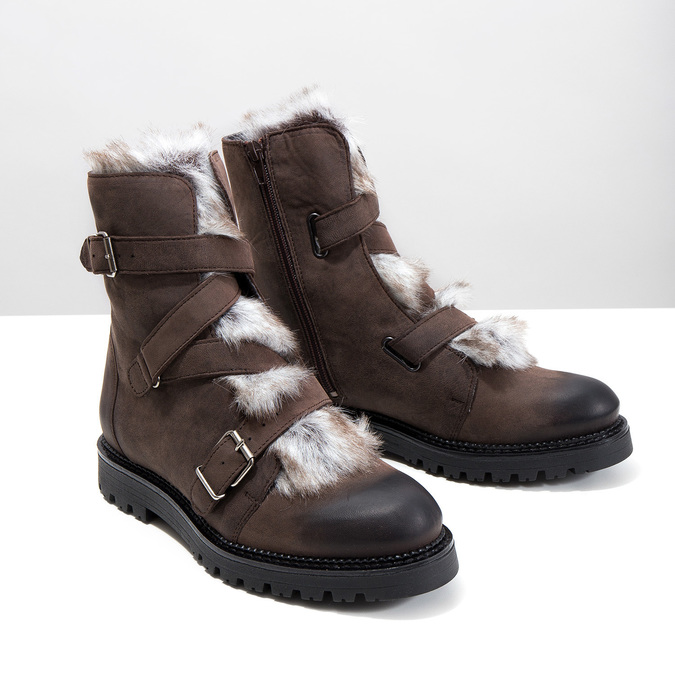 Ladies' Leather High Boots with Fur bata, brown , 594-4656 - 18