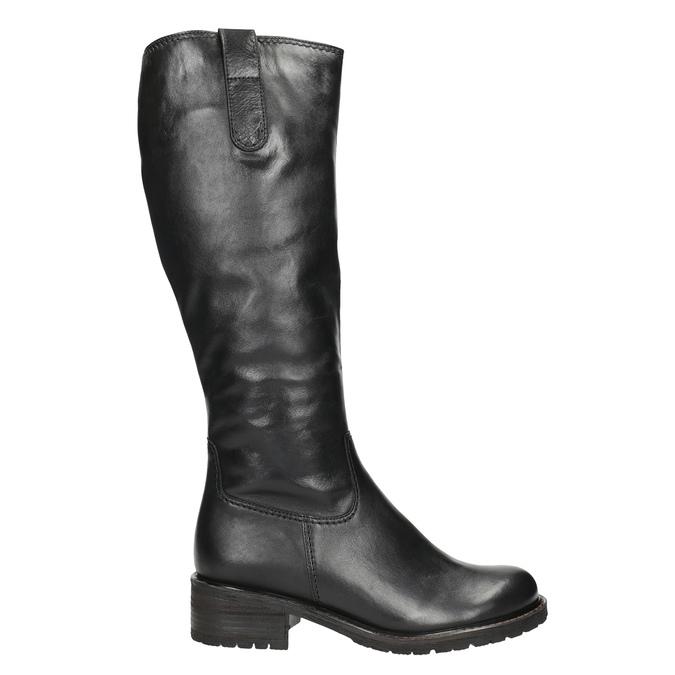 Ladies' Black Leather High Boots gabor, black , 694-6139 - 26
