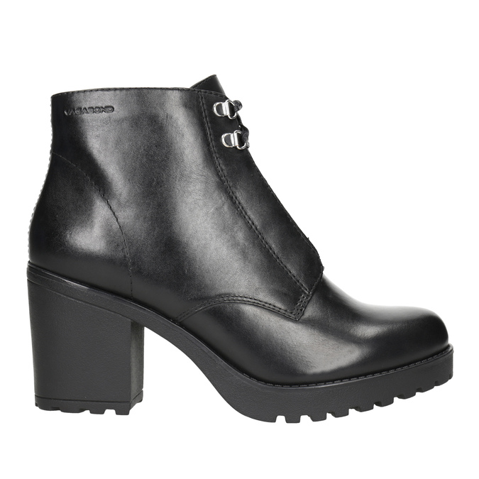 Leather high ankle boots vagabond, black , 724-6043 - 26