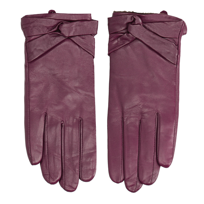 Ladies' leather gloves bata, violet , 904-0109 - 26