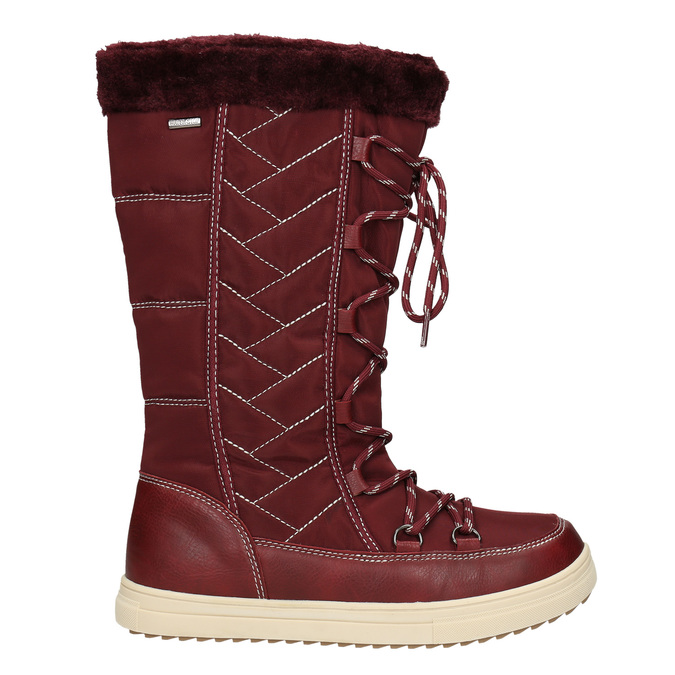 Ladies' Burgundy Snow Boots bata, red , 599-5621 - 26