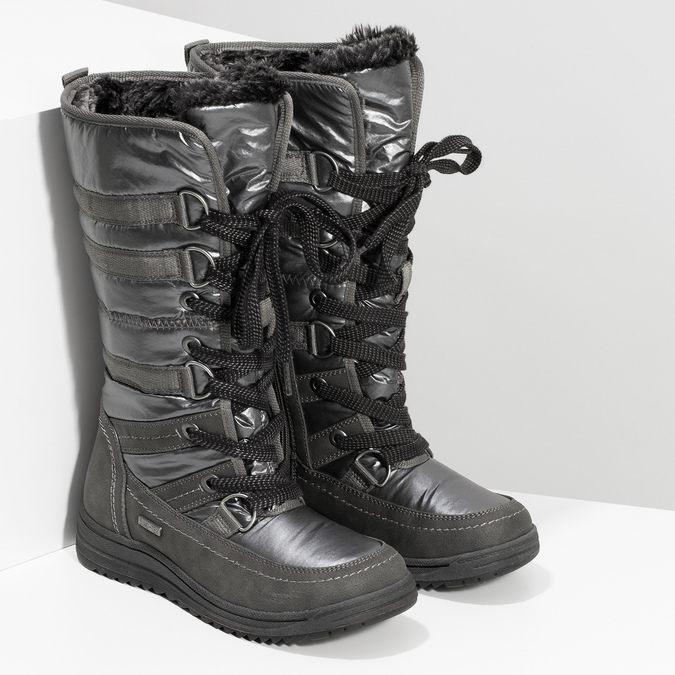 Ladies' winter snow boots bata, gray , 599-2619 - 26