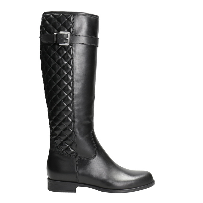 Leather high boots with stitching bata, black , 594-6663 - 26