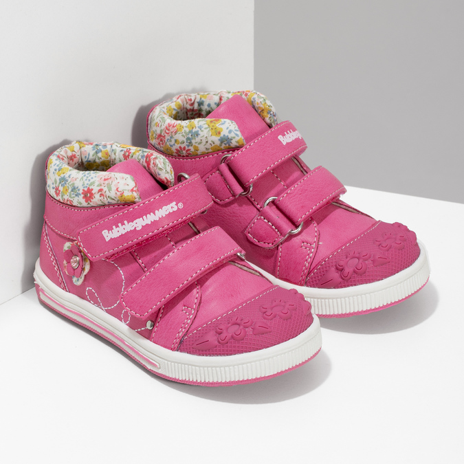 Pink leather ankle boots with Velcro bubblegummers, 121-5618 - 26