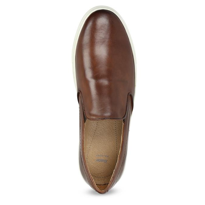 Men's Leather Slip-Ons bata, brown , 836-4601 - 17